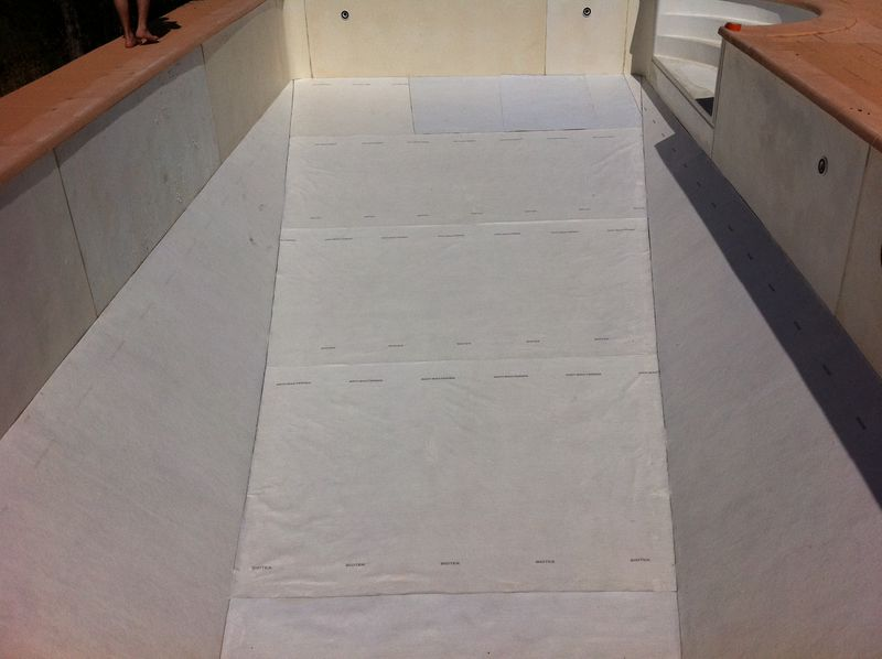 Changement d 39 un liner blanc avec frise au castellet var for Pose feutre piscine