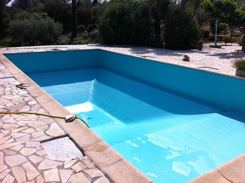 La pose d 39 un liner arm vert cara be sur une piscine au for Pose de liner pour piscine